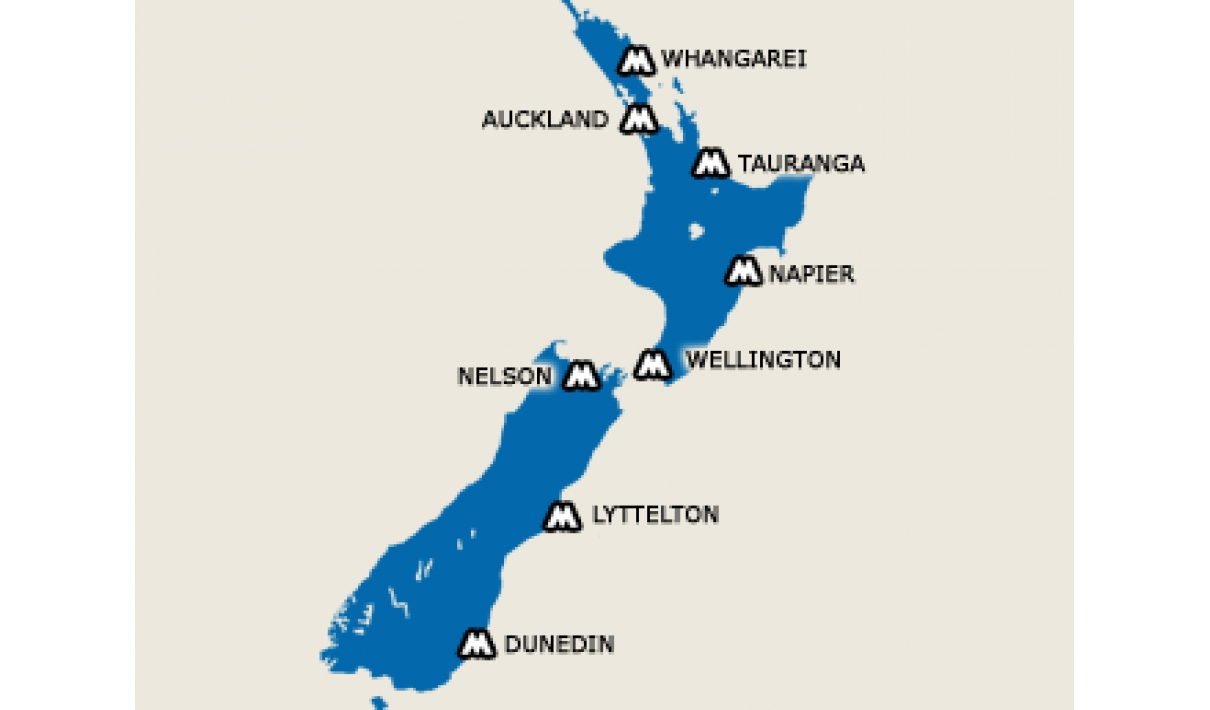 Links to ports in New Zealand